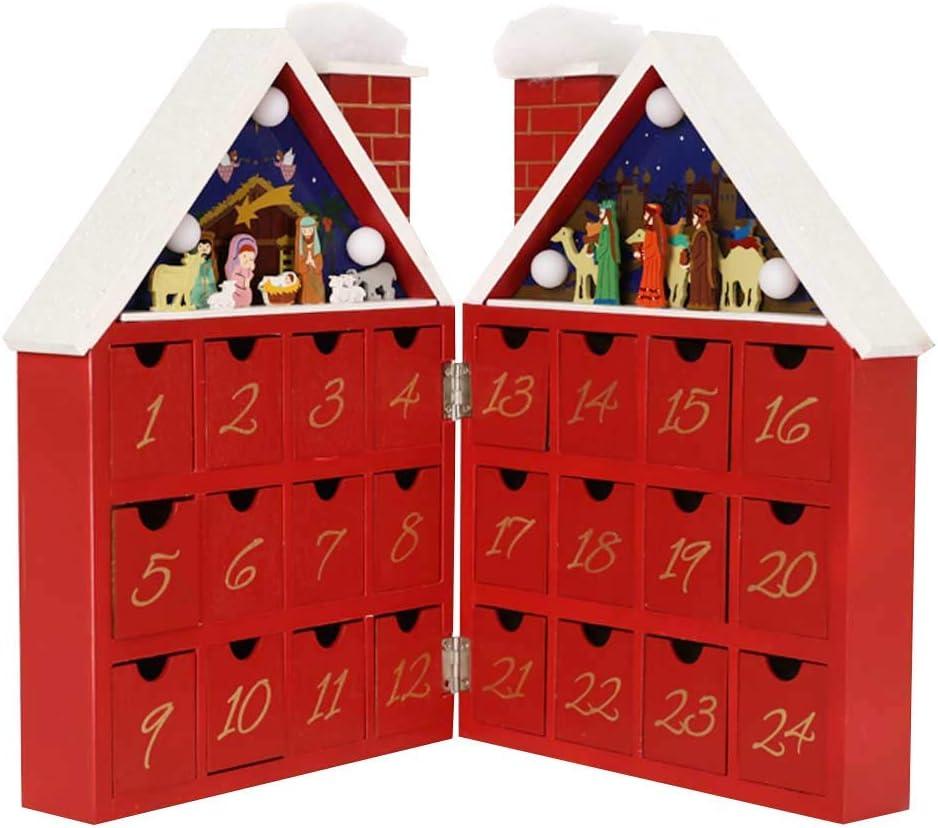 クリスマス木製いアドベントカレンダーハウス24引き出しとLEDライト