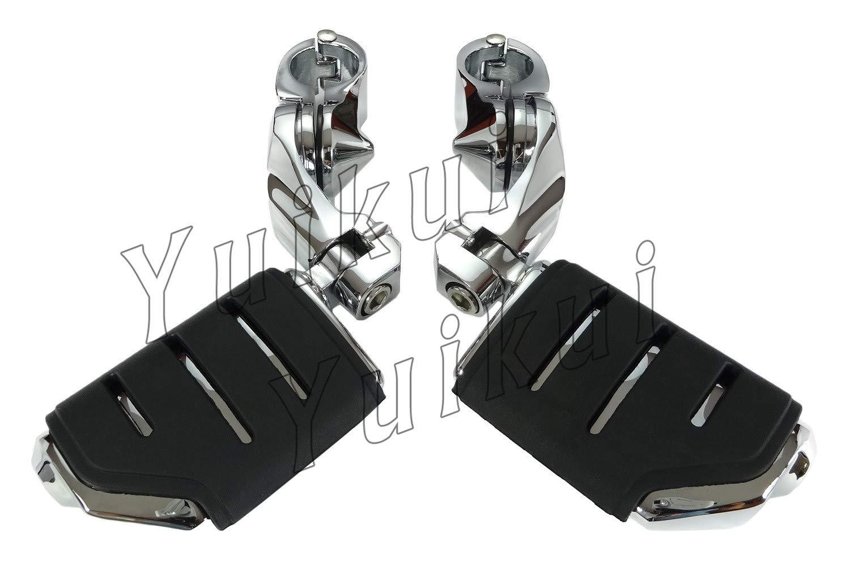 YUIKUI RACING オートバイ汎用 1-1/4インチ/32mmエンジンガードのパイプ径に対応 ハイウェイフットペグ タンデムペグ ステップ YAMAHA V-STAR 650 / 1100 (CLASSIC/CUSTOM/SILVERADO) From 1998等適用   B07PWPDBGB