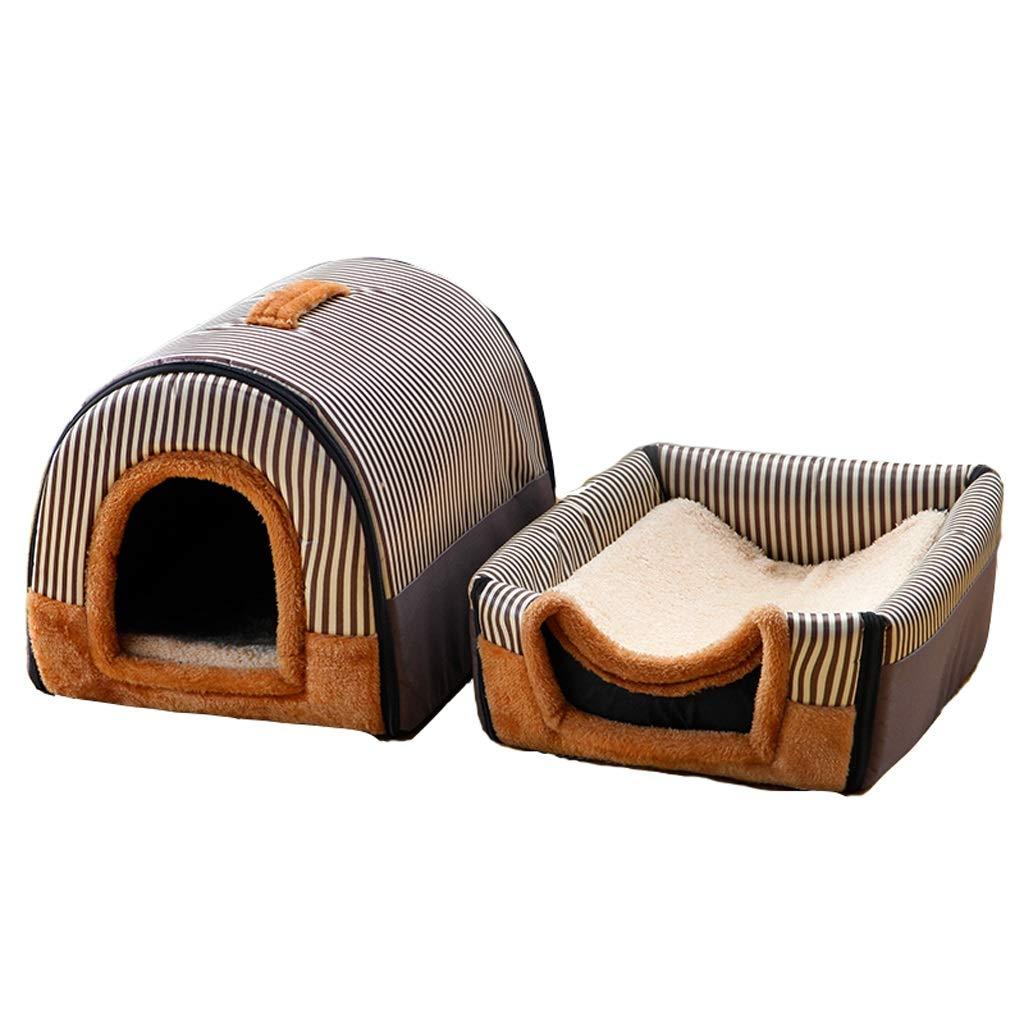 C XXLargeLarge Dog Kennel, Dog House Teddy golden Mao Samoyed Medium Dog Cushion Winter Warm Washable Cat Litter Pet Dualuse Nest (color   B, Size   M)