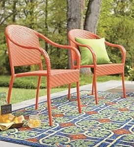 Stackable Outdoor Wicker Chair In Orange Amazon Ca Home