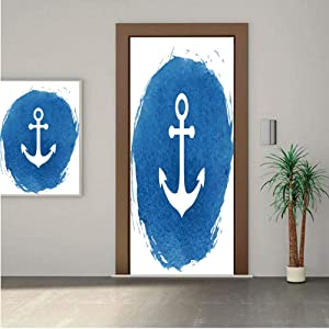 "Anchor Decor ONE Piece Door Stickers,Anchor Icon with Watercolors Effect Deep Down the Sea Stay Calm and Firm Patience Artwork 28x80"" Peel & Stick Removable Wall Mural,Decal,Poster for Door/Wall/Fridg"