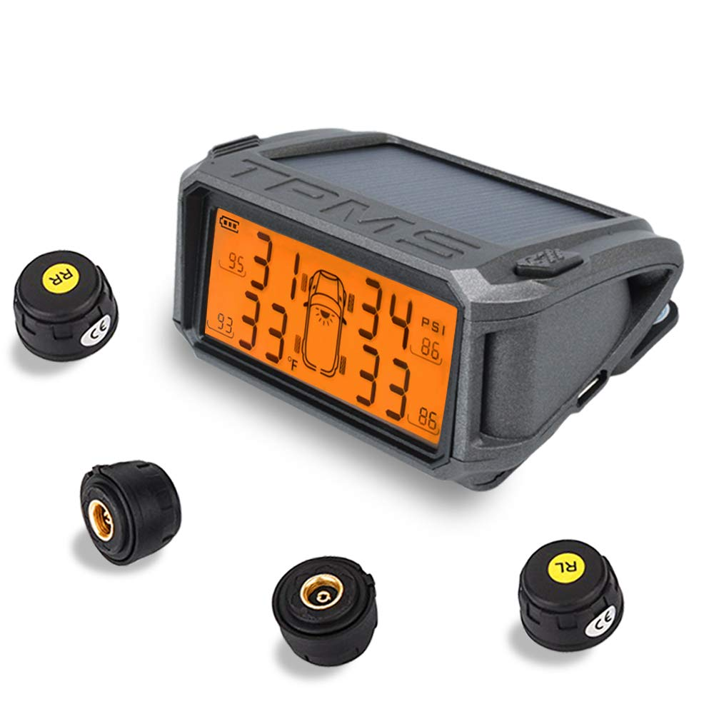 DEEWAZ Solar TPMS Wireless, Tire Pressure Monitoring System with 4 External Sensors, Universal Real-time LCD Display 4 Tires' Pressure and Temperature Monitor, Auto Safe Warning Car TPMS (Orange)