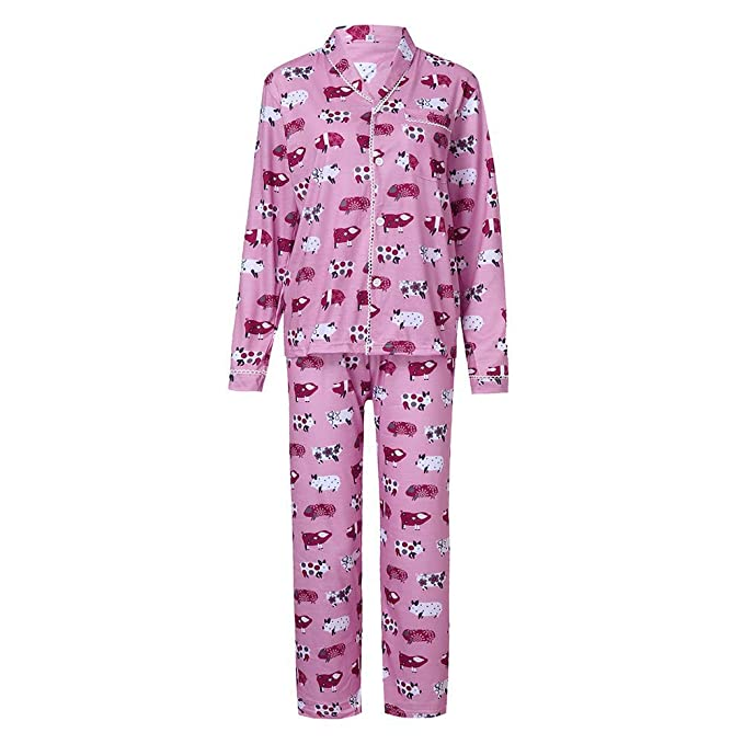 Pijama de la Familia, Muchachas de Las Mujeres Cerdo Lindo Imprimir Tops + Pantalones Trajes