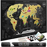 Premium Scratch Off Map of the World with outlined Canadian Provinces & US States | Gold Personalized Wall Map Poster | Deluxe Gift for Travelers & Travel Tracking | BONUS Memory & Adhesive Stickers + Scratching Tool + Wiping Cloth + Traveling eBook