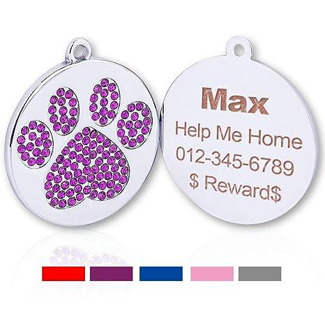 TagME Etiquetas de identificación para Perro o Gato, con Purpurina Personalizada, con diseño de