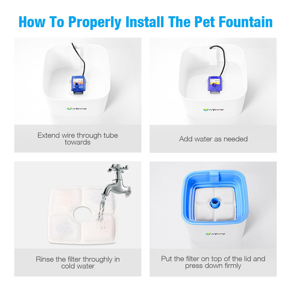 isYoung Pet Water Fountain, Upgraded 2.5L Cat/Dog Pet Drinking Fountain Automatic Pet Water Dispenser with 3 Different Water Flow Settings and Beautiful Flower Design, Super Quiet and Hygienic