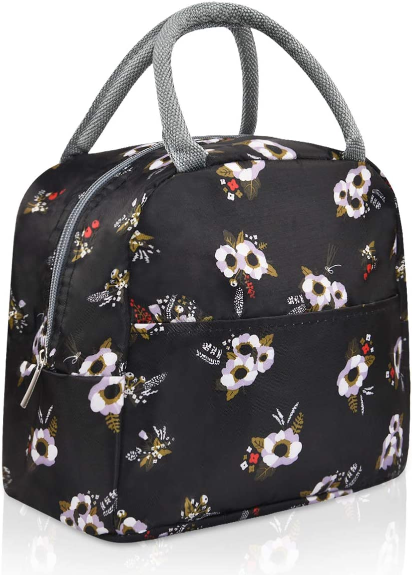 Portable Lunch Bags for Women Men Large Waterproof Lunch Bag Reusable Insulated Lunch Bag with Front Pocket Cooler Bag for Work School Office Outdoors Picnic, Black flower