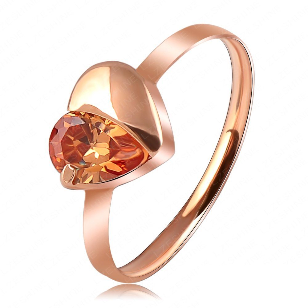 Evertrust (TM)Hot Selling Love Ring Simple Rose Gold Plated Austrian Crystal Heart Ring SWA Elements Wedding Rings Ri-HQ1080-A-2