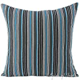 Eyes of India - 24'' Black Blue Big Striped Dhurrie Pillow Cover Boho Seating Bohemian Indian Colorful Decorative Cushion Throw Couch Sofa IndiCover Only