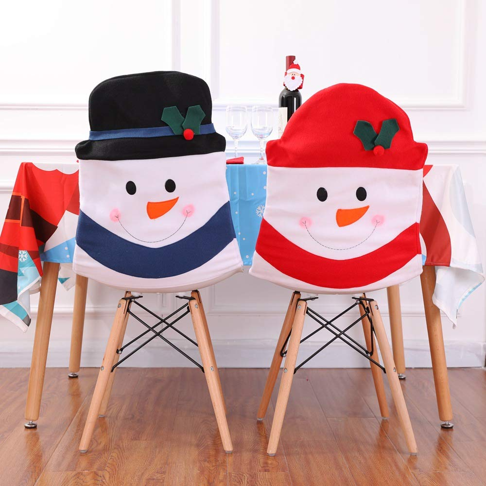 Amazon Com Atoly Christmas Chair Cover Sets Of 2 Pcs Snowman Red