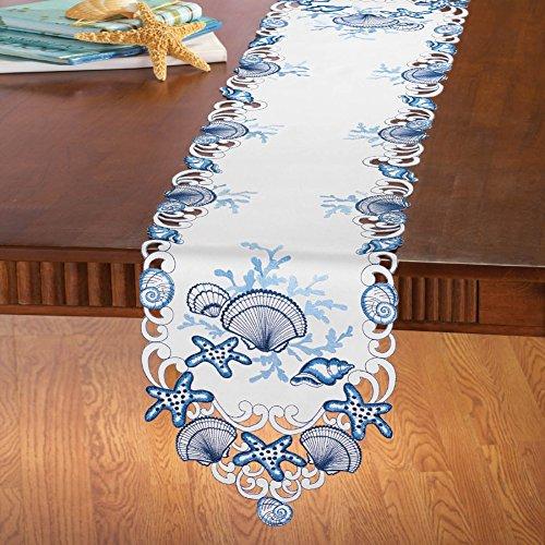 Merveilleux Coastal Seashell Table Linens, Runner