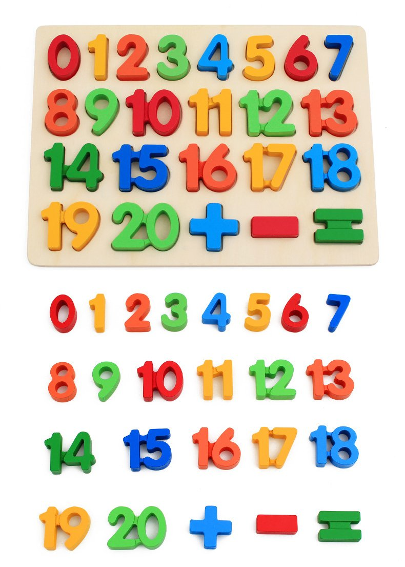 KanCai Kids Wooden 1-20 Number Puzzle Board -early learning toys 220x300x10mm (Numbers Puzzle)