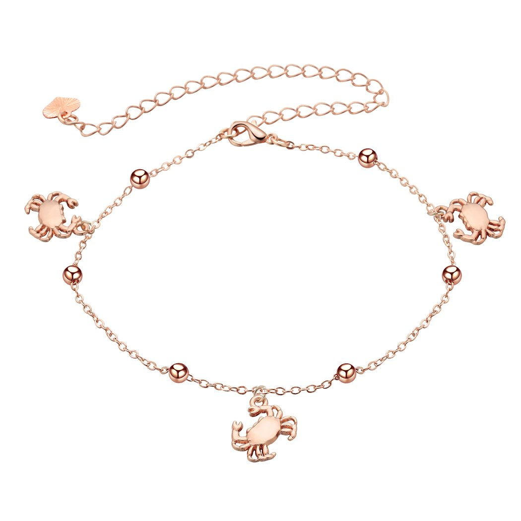 Ocean Creature Crab Anklet Foot Chain Ankle Bracelet Charm Sandal Jewelry Rose Gold for Girls Women QIAMNI JEWELRY LTD CAM4A4783