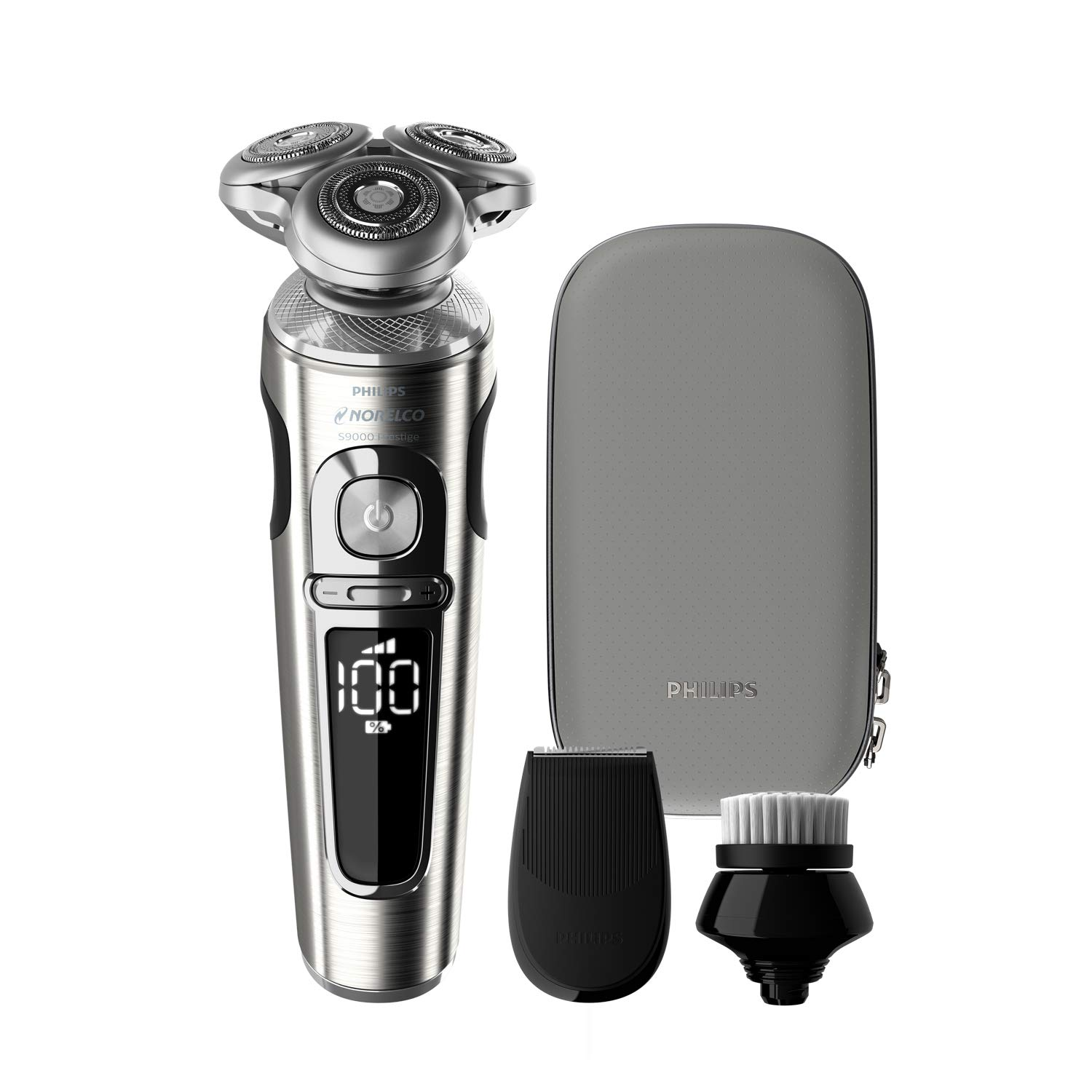 Philips Norelco 9000 Prestige Electric Shaver with Precision Trimmer, Cleansing Brush and Premium Case, SP9820/88