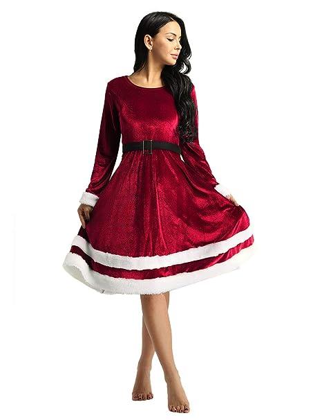 iiniim Vestido Midi de Fiesta Navidad Invierno Mujer Vestido ...
