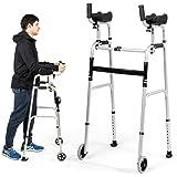 Goplus Foldable Standard Walker, Lightweight Aluminum Alloy Wheel Rehabilitation Auxiliary Walking Frame with Arm Rest Pad an