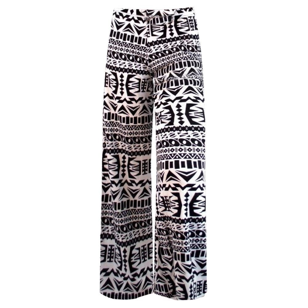 Janisramone New Women Floral Paisley Print Trouser Wide Leg Baggy Flared Summer Pant Palazzo
