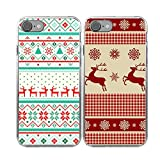 iPhone7 2x Christmas Cases,TTOTT Christmas Gift 2X New Floral Fashion Red Christmas Deer Pattern Slim Bumper Anti Scratch Shockproof Matching Couple Cases for iPhone 7 4.7inch