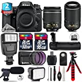 Holiday Saving Bundle for D7500 DSLR Camera + 55-200mm VR II Lens + AF-P 18-55mm + Battery Grip + Shotgun Microphone + LED Kit + 2yr Extended Warranty + 32GB Class 10 Memory - International Version