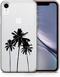 uCOLOR Palm Tree Clear Case Compatible for iPhone XR(6.1 inch),Palm Tree Shockproof Crystal Clear TPU Bumper + Hard Back Protective Cover Compatible for iPhone XR