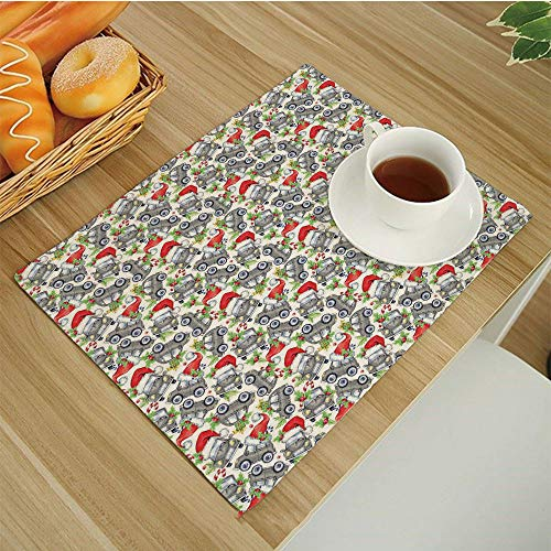 Place Mats Set of 6,Washable Fabric Placemats for Dining Room Kitchen Table Decor,17.5