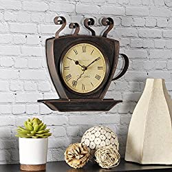 FirsTime 25524 Bronze Coffee Cup Wall Clock, Oil Rubbed