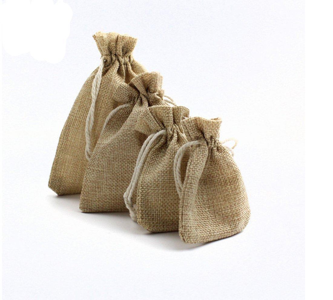 50PCS Natural Burlap Linen Jute Vintage Wedding Drawstring Gift Favor Sack Bags 3'X4'