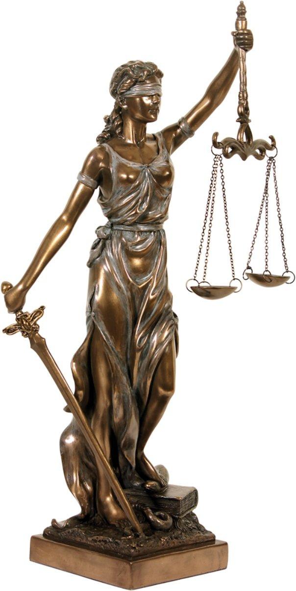 colourliving Statuette d/écorative de la d/éesse Justice Bronz/é