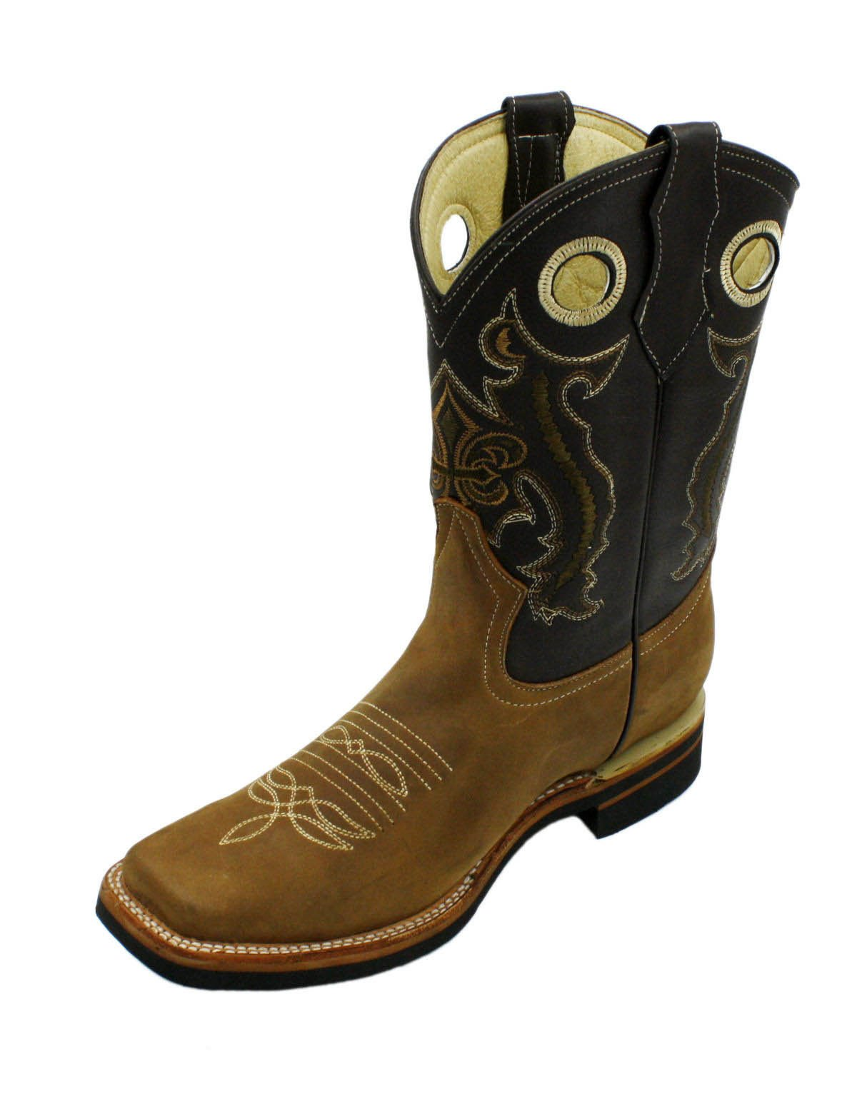 Men Genuine Cowhide Leather Square Toe Western Cowboy Boots Tan Brown 7.5
