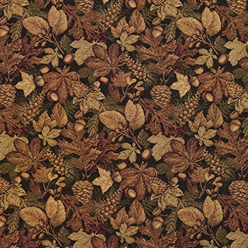 - Black and Gold Brown Autumn Foliage Tapestry Upholstery Fabric by the yard