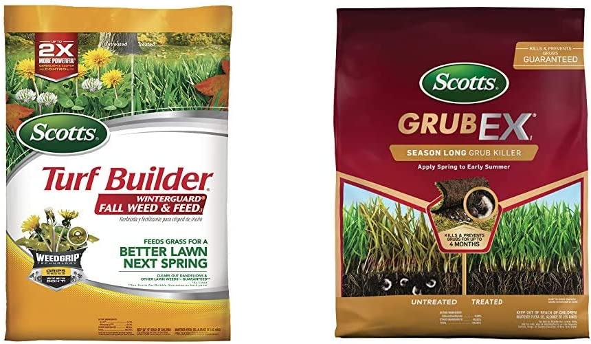 Scotts Turf Builder WinterGuard Fall Weed and Feed 3, 15,000 sq. ft. & GrubEx1 - Grub Killer for Lawns, Lawn Treatment for Season Long Grub Control, Treats up to 10,000 sq. ft, 28.7 lb.