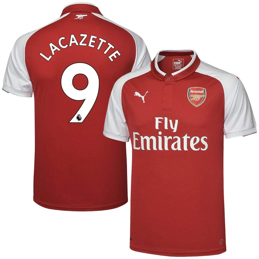 87fe29677 Amazon.com   PUMA Arsenal Home Lacazette Jersey 2017 2018 (Authentic EPL  Printing) - XL   Sports   Outdoors