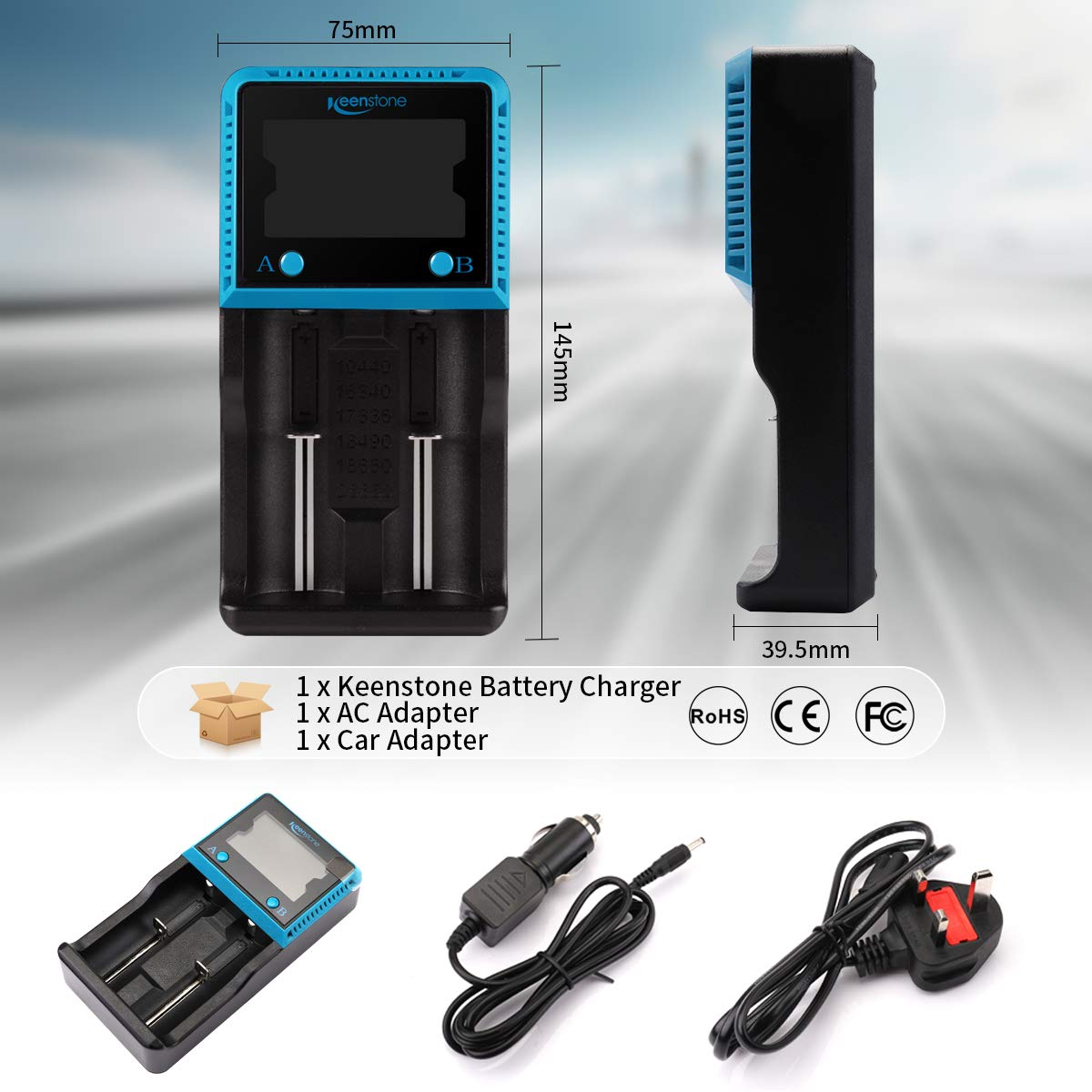 Keenstone 18650 Battery Charger UK, Dual 18650 Charger with LCD Screen for Ni-MH   Ni-Cd   Lifepo4   Li-ion ICR INR IMR Rechargeable Batteries AA AAA 10440 14500 16340 18560 26650 (2 Slot)