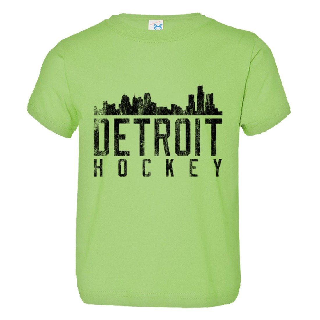 PleaseMeTees Toddler Detroit Hockey Skyline Sports Distressed HQ Tee Shirt