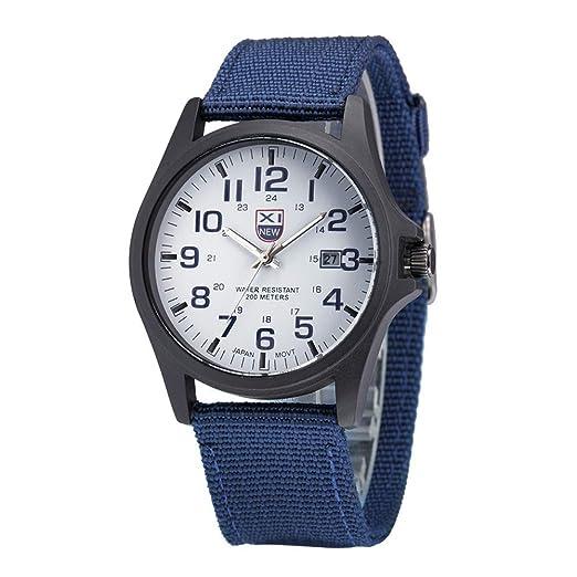 Relojes Hombre Calendario con 2 Vueltas Escala de números arábigos, Correa de Lona Relojes de Pulsera Casual, Azul: Amazon.es: Relojes