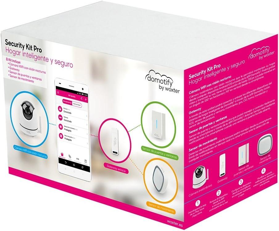 Woxter Domotify Security Kit Pro - Kit PRO de seguridad domótica de Domotify, incluye Cámara inalámbrica, Gateway, Sensor de Movimiento y sensor de puertas/ventanas, Domótica inalámbrica