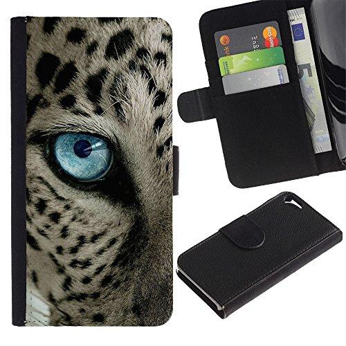 iBinBang / Coque Housse Case Cover Etui en cuir - Taches noires Blue Cat Eye - Apple Iphone 5 / 5S