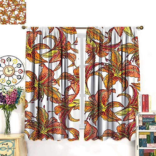 Warm Family Window Curtain 2 Panel Seamless Pattern with Tiger Lilies Drapes Panels W84 x L72 (Lily Tiger Drapes)