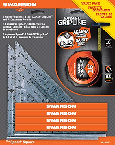 Swanson Tool S0101SPT 2-Speed Square 1-16-Feet Savage Grip Line and  4-Carpenter Pencils Value Pack