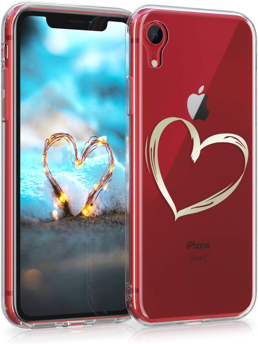 kwmobile Funda Compatible con Apple iPhone XR - Carcasa de TPU Dibujo de corazón en Dorado/Transparente