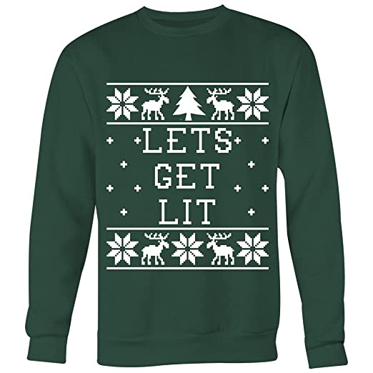 Lets Get Lit Unisex Ugly Christmas Sweatshirt At Amazon Mens