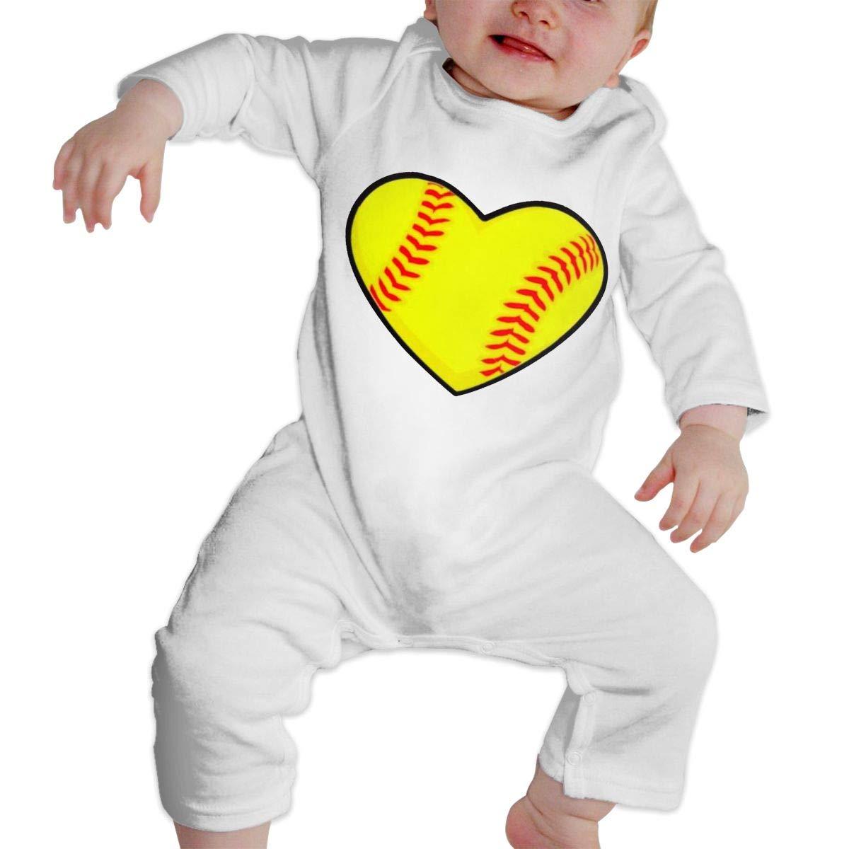KAYERDELLE I Love Softball Heart Long-Sleeve Unisex Baby Bodysuits for 6-24 Months Toddler