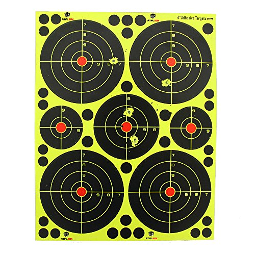 Atflbox Shooting Target 4Inch multiple circles Splatter and Adhesive Target Paper.Shooting outdoor and indoor .Rective shooting targets for Gun - Rifle - Pistol - AirSoft - Air Rifle for 25Pack by Atflbox (Image #2)
