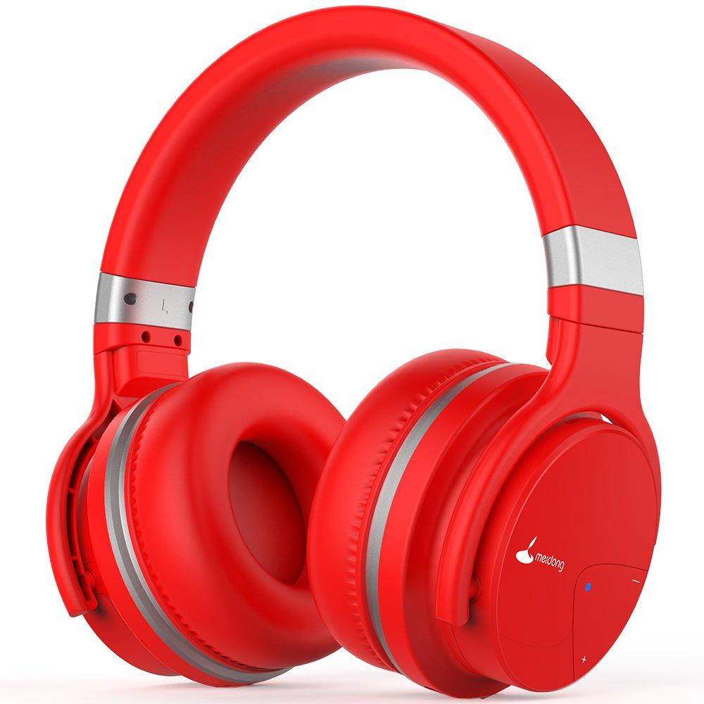 Auriculares Bluetooth, Meidong E7B Auriculares inalámbricos ligeros con micrófono Hi-Fi Sonido Auriculares de graves profundos sobre el oído, almohadillas protectoras para los oídos cómodos, 30 horas de juego para TV de trabajo en viajes