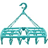 Rain&Shine Foldable Clip and Drip Laundry Hanger with 24 Strong Pegs- 3 Colors Option- Premium -100% (Fresh Green)