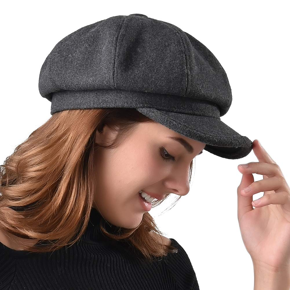 FURTALK Women's Newsboy Cap Paperboy Hat Winter Wool Beret Hat Cabbie Fiddler Hat Grey by FURTALK