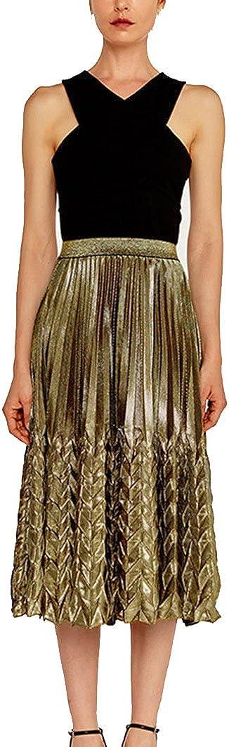 GUOCU Mujer Retro A-Line Falda Plisada Falda Fishtail En Estilo ...