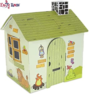 Emily Rose Incredible Colorful Dollhouse or Kid's Play House | Includes Functioning Door, Window and Roof Hatch! (Safari House) | Playhouse for Kids