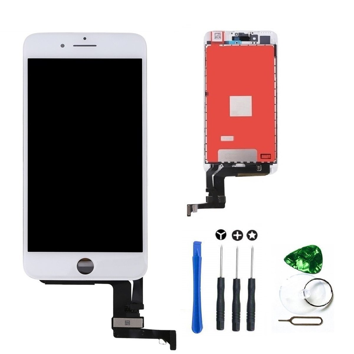 LCD Display Touch Screen Digitizer Glass Replacement Full Assembly with repair kit for iPhone 7 Plus 5.5 inch (White)