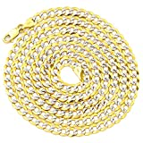 """LoveBling 10K Yellow Gold 4.5mm Solid Pave Two-Tone Curb Chain Necklace with White Gold Pave Diamond Cut, with Lobster Lock (18"""" to 30"""")"""